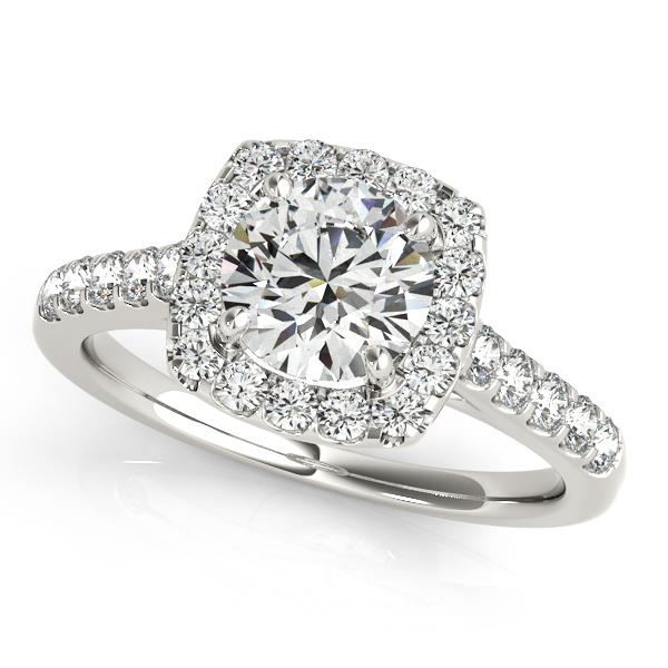 White Gold Engagement Ring Fashionable Square Halo Diamond Round Cut