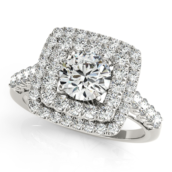 white gold engagement ring avant garde square halo unique side stones - Cheap White Gold Wedding Rings