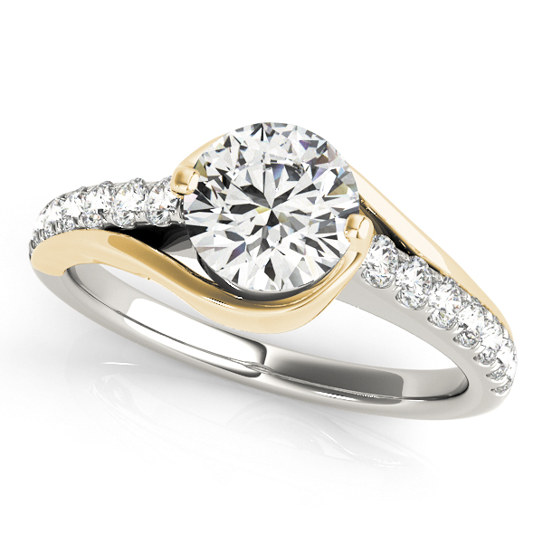 Gold Engagement Ring Diamond Unique Curved Design