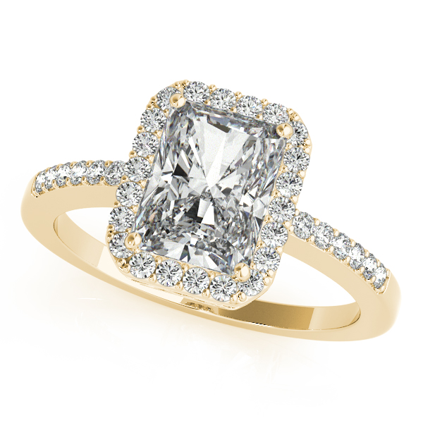 Gold Engagement Ring Avant Garde Emerald Cut Halo Diamond