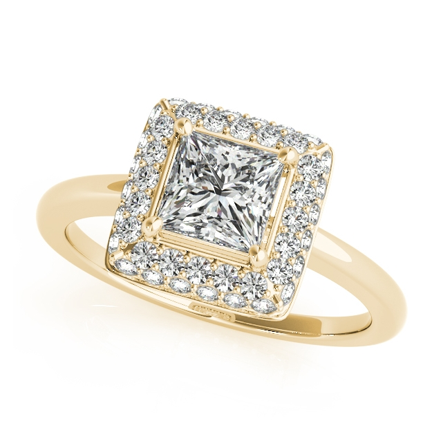 Yellow Gold Engagement Ring Traditional Princess Cut Duet Halo Diamond