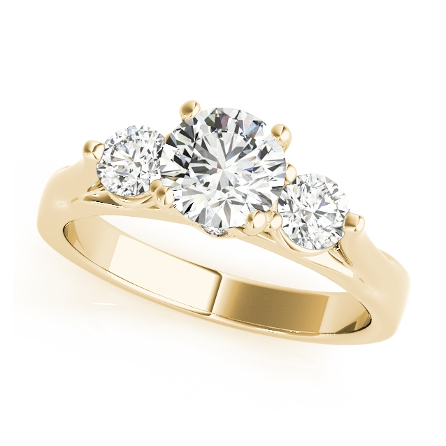 Gold Engagement Ring Round Diamond Three Stone Design