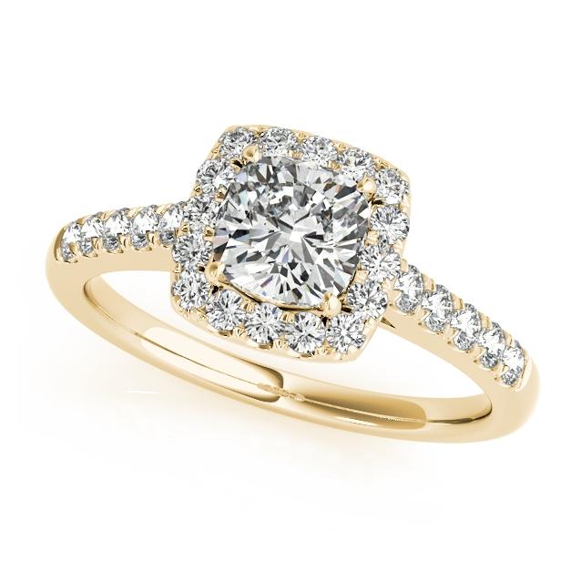 Yellow Gold Halo Diamond Elegant Solitaire Engagement: Yellow Gold Engagement Ring Elegant Cushion Cut Square