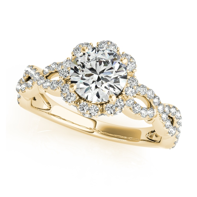yellow gold flower engagement ring