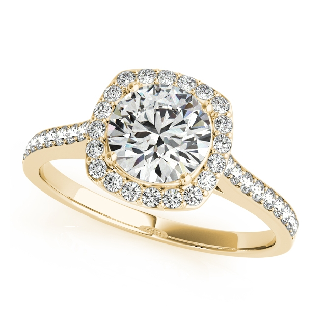 Yellow Gold Diamond Engagement Ring Cushion Cut Shaped Halo