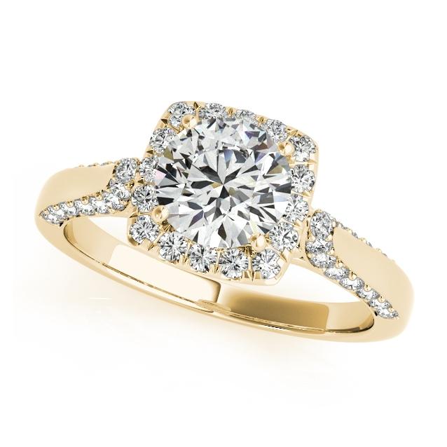 Gold Engagement Ring Square Halo Diamond Unique Side Stones