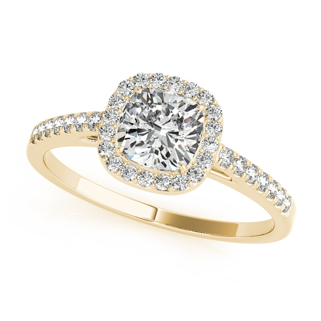 Yellow Gold Engagement Ring Affordable Cushion Cut Diamond Side Stone