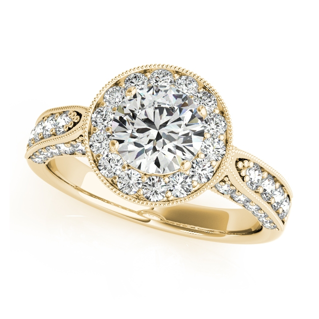 yellow gold side stone halo engagement ring