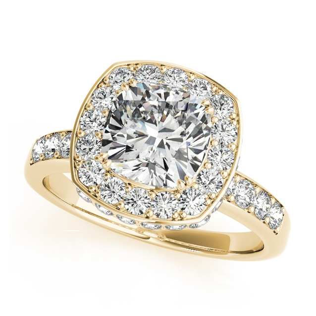 Yellow Gold Engagement Ring Antique Style with Cushion Cut Diamond Halo